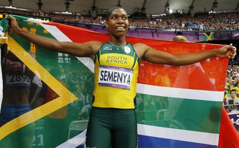 South Africa's Caster Semenya celebrates after she won silver in the women's 800m final at the London 2012 Olympic Games at the Olympic Stad