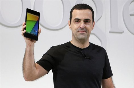 Hugo Barra, director of Product Management at Android, holds the new Nexus 7 tablet during a Google event at Dogpatch Studio in San Francisc