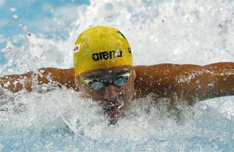 Chad Le Clos of South Africa competes in the men's 50m butterfly semi-finals during the FINA World Swimming Championships in Istanbul Decemb