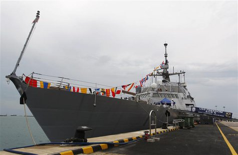The USS Freedom is moored at Changi Naval Base ahead of U.S. Secretary of the Navy Ray Mabus' visit in Singapore, in this May 11, 2013 file
