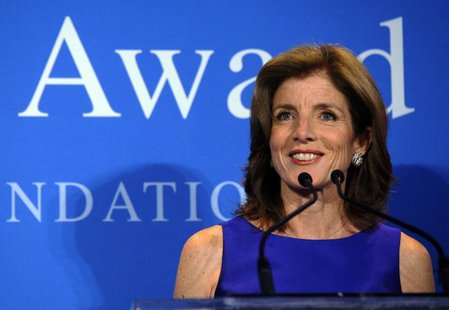 Caroline Kennedy Schlossberg, daughter of late U.S. President John F. Kennedy, speaks at the 2013 John F. Kennedy Profile in Courage Award c
