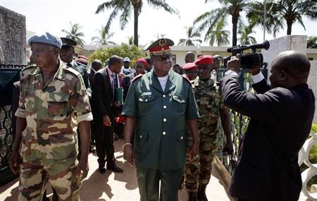 Guinea-Bissau's Armed Forces Chief General Antonio Indjai (front C) leaves a high-level diplomatic meeting at the presidency in the capital Bissau, in this file picture taken November 7, 2012.  REUTERS/Joe Penney/Files