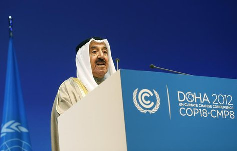 Kuwait's Emir Sheikh Sabah al-Ahmad al-Sabah talks during the opening ceremony of the plenary session of the high-level segment of the 18th