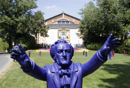 Sculptures of German composer Richard Wagner are seen outside the Gruener Huegel (Green Hill) opera house in Bayreuth July 25, 2013. REUTERS