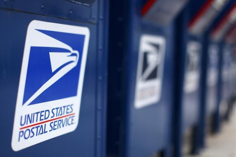A view shows U.S. postal service mail boxes at a post office in Encinitas, California in this February 6, 2013, file photo. REUTERS/Mike Bla