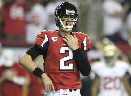 Atlanta Falcons quarterback Matt Ryan reacts after being sacked by the San Francisco 49ers during the fourth quarter in the NFL NFC Champion