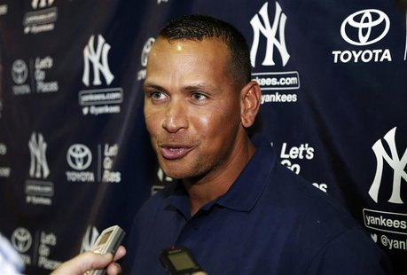 New York Yankees' Alex Rodriguez speaks with reporters following his rehab assignment for the Tampa Yankees in a minor league baseball game