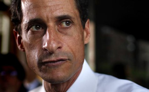 Former U.S. congressman from New York and current Democratic candidate for New York City Mayor Anthony Weiner stops to speak to the media ou