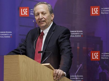 "Former U.S. Treasury Secretary Lawrence H. ""Larry"" Summers speaks during a financial and economic event at the London School of Economics (L"