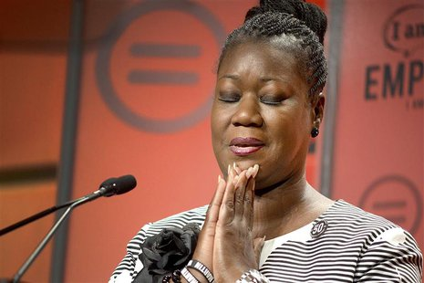 Trayvon Martin's mother, Sabrina Fulton, speaks at the National Urban League's Guild Awards luncheon in Philadelphia, Pennsylvania July 26,