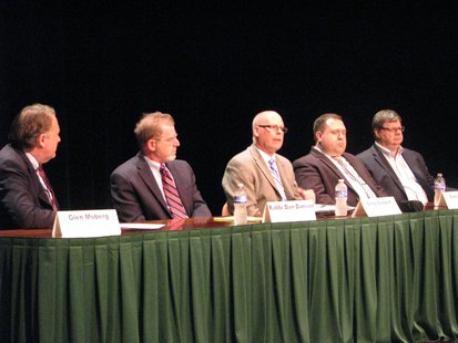 Transit Conference 7/25/13 at UW Marathon County:  Moderator Glen Moberg, NAOMI's Rabbi Dan Danson, Metro Ride Director Greg Seubert, Weston Administrator Daniel Guild, & Wausau Area Transit Commission member Keene Winters