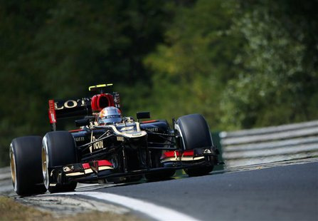 Lotus F1 Formula One driver Romain Grosjean of France drives during the third practice session of the Hungarian F1 Grand Prix at the Hungaro