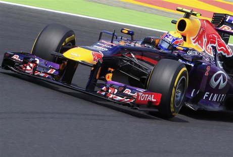 Red Bull Formula One driver Mark Webber of Australia drives during the qualifying session of the Hungarian F1 Grand Prix at the Hungaroring