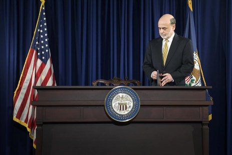 U.S. Federal Reserve Chairman Ben Bernanke arrives for a news conference at the Federal Reserve in Washington, June 20, 2012. REUTERS/Jonath