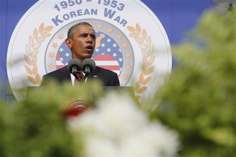 U.S. President Barack Obama delivers remarks on the 60th anniversary of the end of the Korean War, at the Korean War Veterans Memorial in Wa