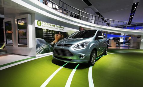 A Ford C-max Energi hybrid car is seen on display during the press days for the North American International Auto show in Detroit, Michigan,