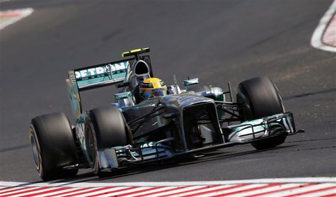 Mercedes Formula One driver Lewis Hamilton of Britain drives during the Hungarian F1 Grand Prix at the Hungaroring circuit in Mogyorod, near
