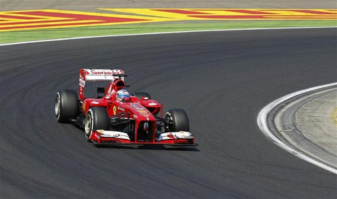Ferrari Formula One driver Fernando Alonso of Spain drives during the Hungarian F1 Grand Prix at the Hungaroring circuit in Mogyorod, near B