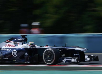 Williams Formula One driver Pastor Maldonado of Venezuela drives during the third practice session of the Hungarian F1 Grand Prix at the Hun