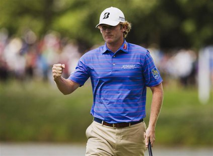 Brandt Snedeker of the U.S. celebrates his birdie on the seventh green during the final round at the Canadian Open golf tournament at the Gl