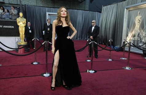 Actress Angelina Jolie poses at the 84th Academy Awards in Hollywood, California, February 26, 2012. REUTERS/Lucy Nicholson