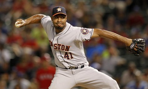 Houston Astros Jose Veras pitches against the Texas Rangers in the ninth inning of their MLB American League baseball game in Arlington, Tex