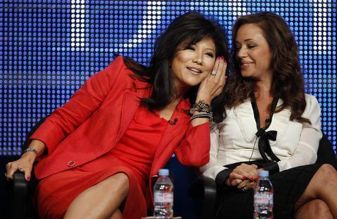 Co-hosts Julie Chen (L) and Leah Remini joke during the CBS, Showtime and the CW Television Critics Association press tour in Beverly Hills,