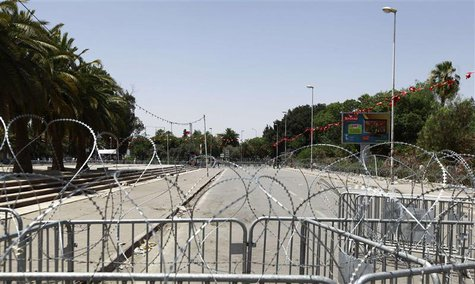 The capital's central Bardo square, where Tunisia's Constituent Assembly is located, is seen sealed off by the army with barbed wire and fen