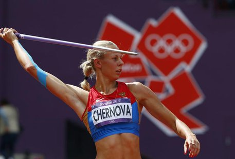 Russia's Tatyana Chernova competes during the women's heptathlon javelin throw Group B event during the London 2012 Olympic Games at the Oly