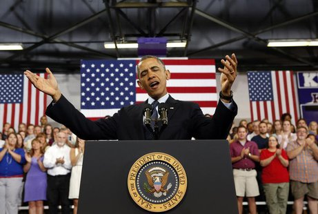 U.S. President Barack Obama speaks about the economy during a visit to Knox College in Galesburg, Illinois July 24, 2013. REUTERS/Kevin Lama