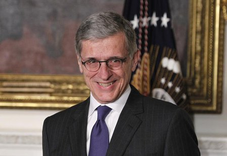 U.S. President Barack Obama (unseen) announces venture capitalist Tom Wheeler to head the Federal Communication Commission (FCC) at the Stat