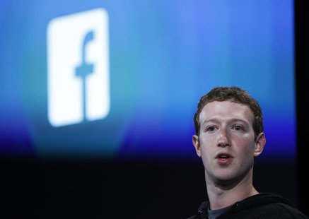 Mark Zuckerberg, Facebook's co-founder and chief executive introduces 'Home' a Facebook app suite that integrates with Android during a Face