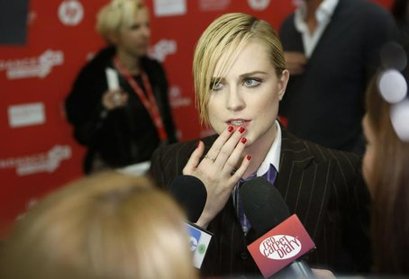 "Cast member Evan Rachel Wood talks to the media at the premiere of the film ""The Necessary Death of Charlie Countryman"" at the Sundance Film"