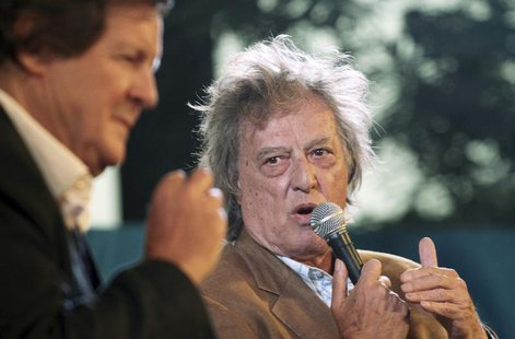 British playwright Tom Stoppard (R) speaks as British director David Hare watches during the annual Literature Festival in Jaipur, capital o
