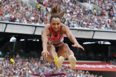 Great Britain's Jessica Ennis-Hill competes before winning the women's long jump event at the London Diamond League 'Anniversary Games' athl