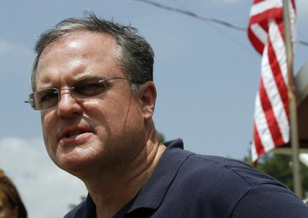 U.S. Senator Mark Pryor of Arkansas speaks at a media conference at a command center near the Albert Pike recreation area near Caddo Gap, Ar