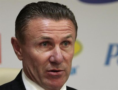 National Olympic Committee President Sergei Bubka speaks during a news conference at the National Olympic Committee in Kiev, June 20, 2012.