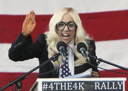 Singer Lady Gaga speaks at a rally in Portland, Maine, September 20, 2010 urging members of the Senate to repeal the military rule banning o
