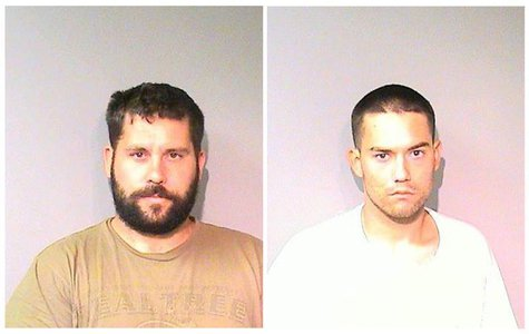 Ryan Balletto, 30, (L) and Patrick Pearmain, 25, are pictured in a combination of arrest photos that was relased by the Lake County Sheriff'