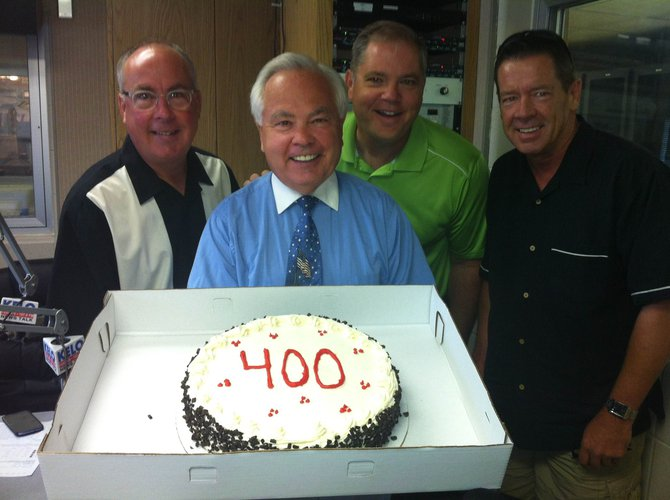Bill Zortman celebrated his 400th episode of Its Your Business on 7/31/13! Bill shares business success stories from around the region every day on KELO. From left to right: Randy Derheim of Pinnacle, Bill Zortman, Dave Austad and Paul Dogherty of Golf Etc!