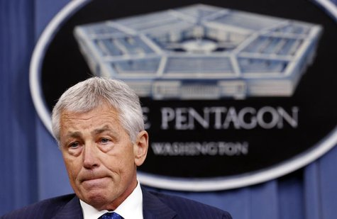 U.S. Defense Secretary Chuck Hagel listens to a question during a briefing on the Defense Department's FY2014 budget at the Pentagon in Wash