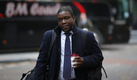 Former UBS trader Kweku Adoboli arrives at Southwark Crown Court to attend his trial for fraud and false accounting in London, November 15,