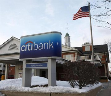 The Citibank logo is seen in Arlington Heights, Illinois February 3, 2009. REUTERS/John Gress