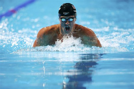 Ryan Lochte of the U.S. swims in the men's 200m individual medley semi-final during the World Swimming Championships at the Sant Jordi arena