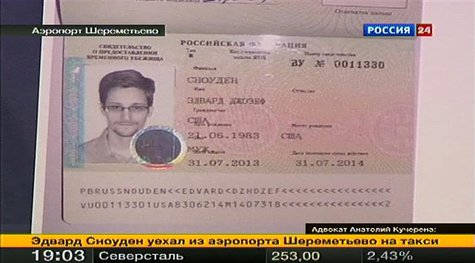 A picture of fugitive former U.S. spy agency contractor Edward Snowden in his new refugee documents granted by Russia in Moscow's Sheremetye