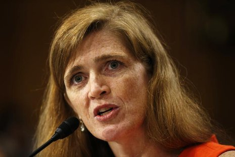 Samantha Power, a former White House aide and Harvard professor, testifies before a Senate Foreign Relations Committee confirmation hearing