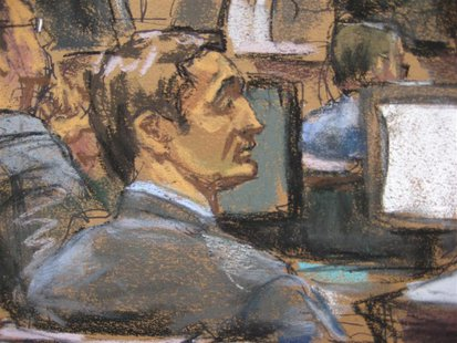 Former Goldman Sachs Group Inc trader Fabrice Tourre (2nd from L), is shown in this courtroom sketch in Manhattan Federal court in New York
