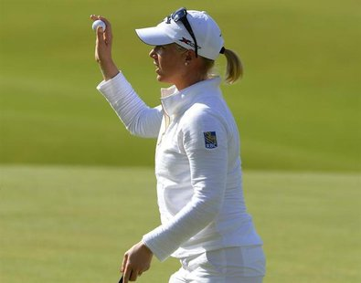 Morgan Pressel of the U.S. reacts to her putt at the 18th hole during the Women's British Open golf championship at St Andrews in Scotland A