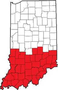 Area In Red To Be Covered By New 930 And Old 812 Area Code