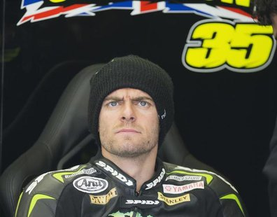 Yamaha MotoGP rider Cal Crutchlow of Britain concentrates before the qualifying session of the Dutch Grand Prix in Assen June 28, 2013. REUT